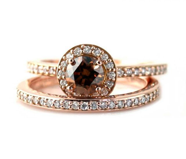 14k Chocolate Diamond Wedding Set Engagement Ring Chocolate Diamond Wedding Rings Diamond Wedding Rings Sets Brown Diamond Ring