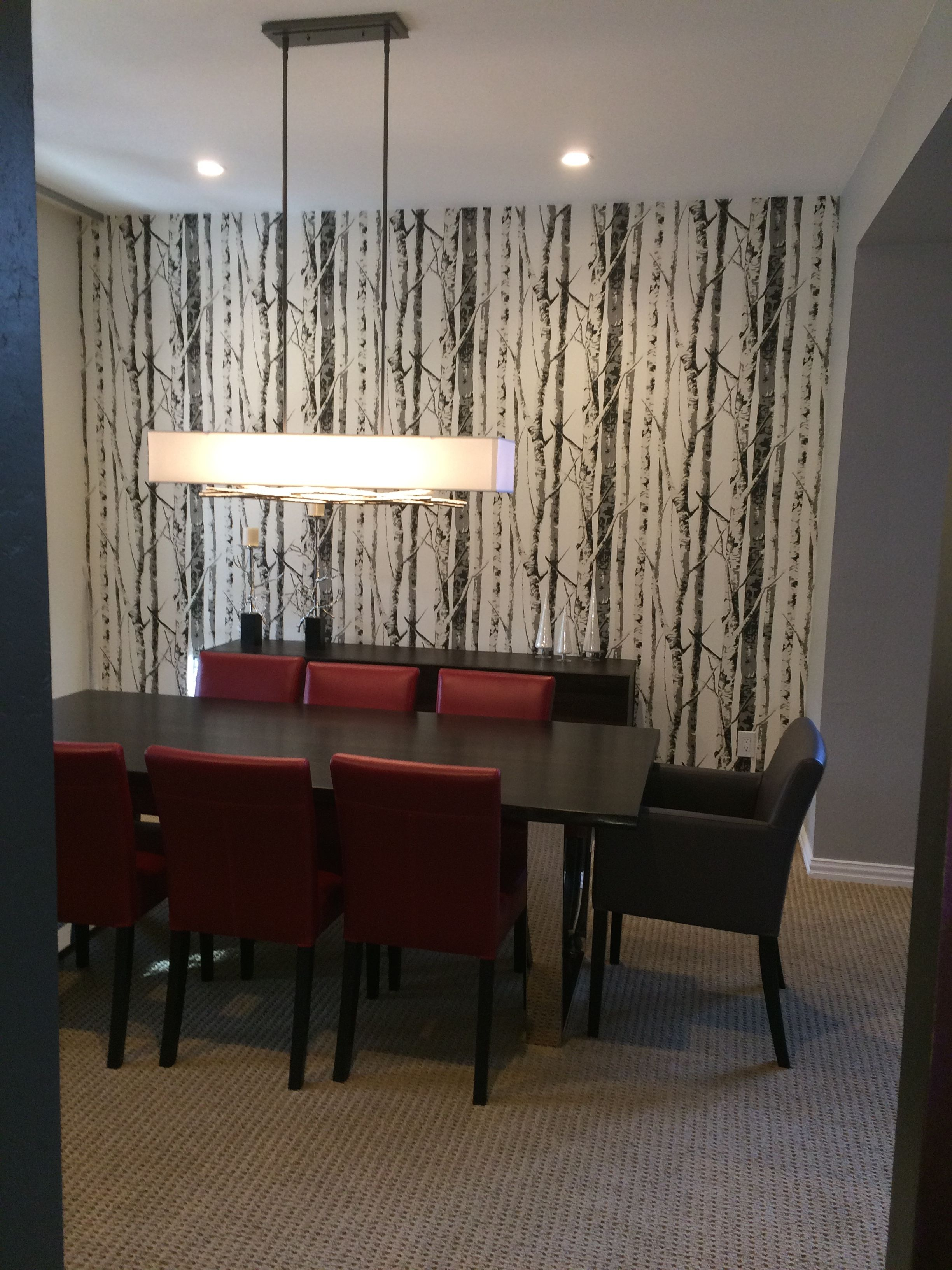 Modern Dining Room With Aspen Tree (Silver Birch) Wallpaper
