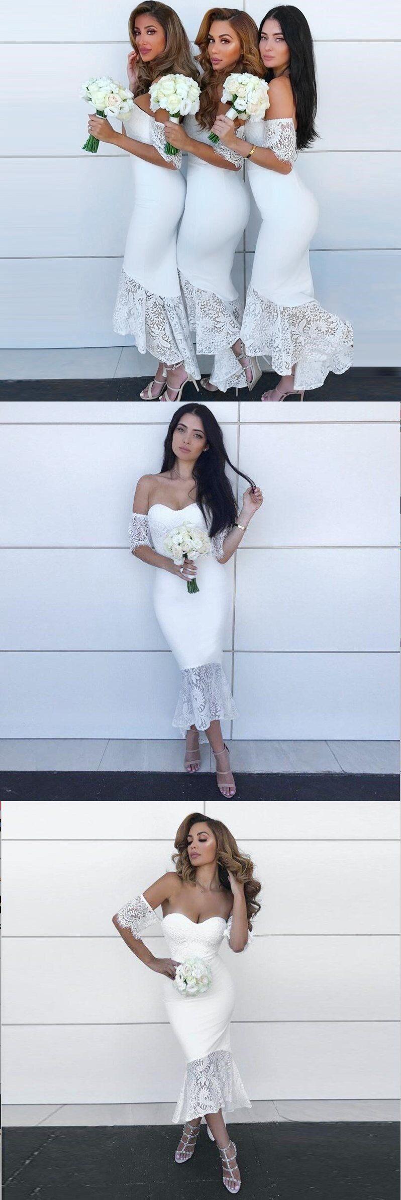 514ce6cdab Sexy Elegant Modest Cheap Mermaid Sweetheart Short Sleeves White Bride –  NewestDress