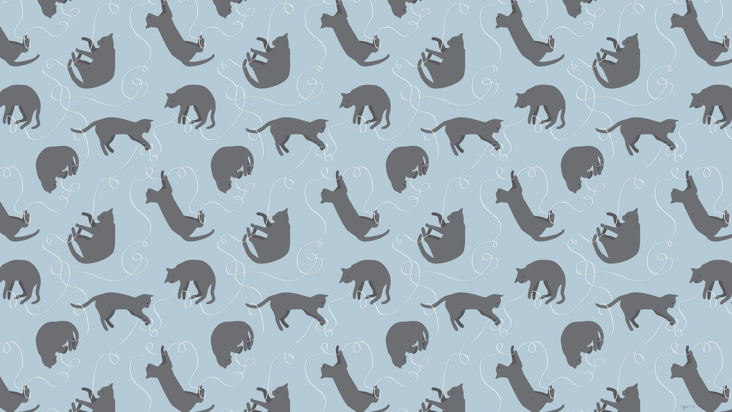 yvonnewengcatblue2560x1440.jpg (2560×1440) Cat pattern