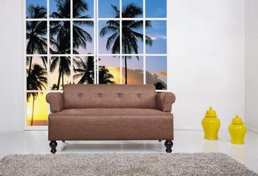 leader lifestyle victoria brown tawny 2 seater fabric sofa sofas