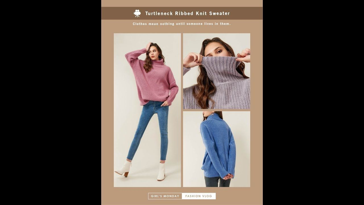 Photo of Turtleneck Ribbed Knit Sweater