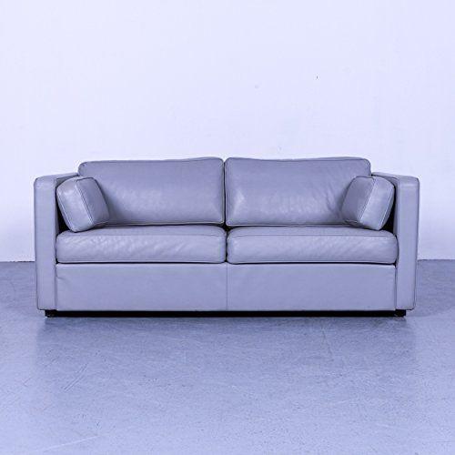 Walter Knoll Designer Leder Sofa Grau Zweisitzer Couch Echtleder