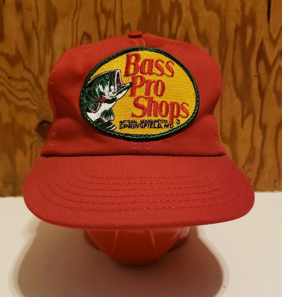 Vintage Bass Pro Shops Red Trucker Hat Cap Snapback Made In Usa Fishing Patch Vintage Bass Hats Bass Pro Shop Hat