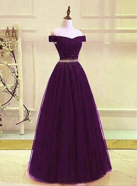 Beautiful Dark Purple Beaded Tulle Prom Gown, Off