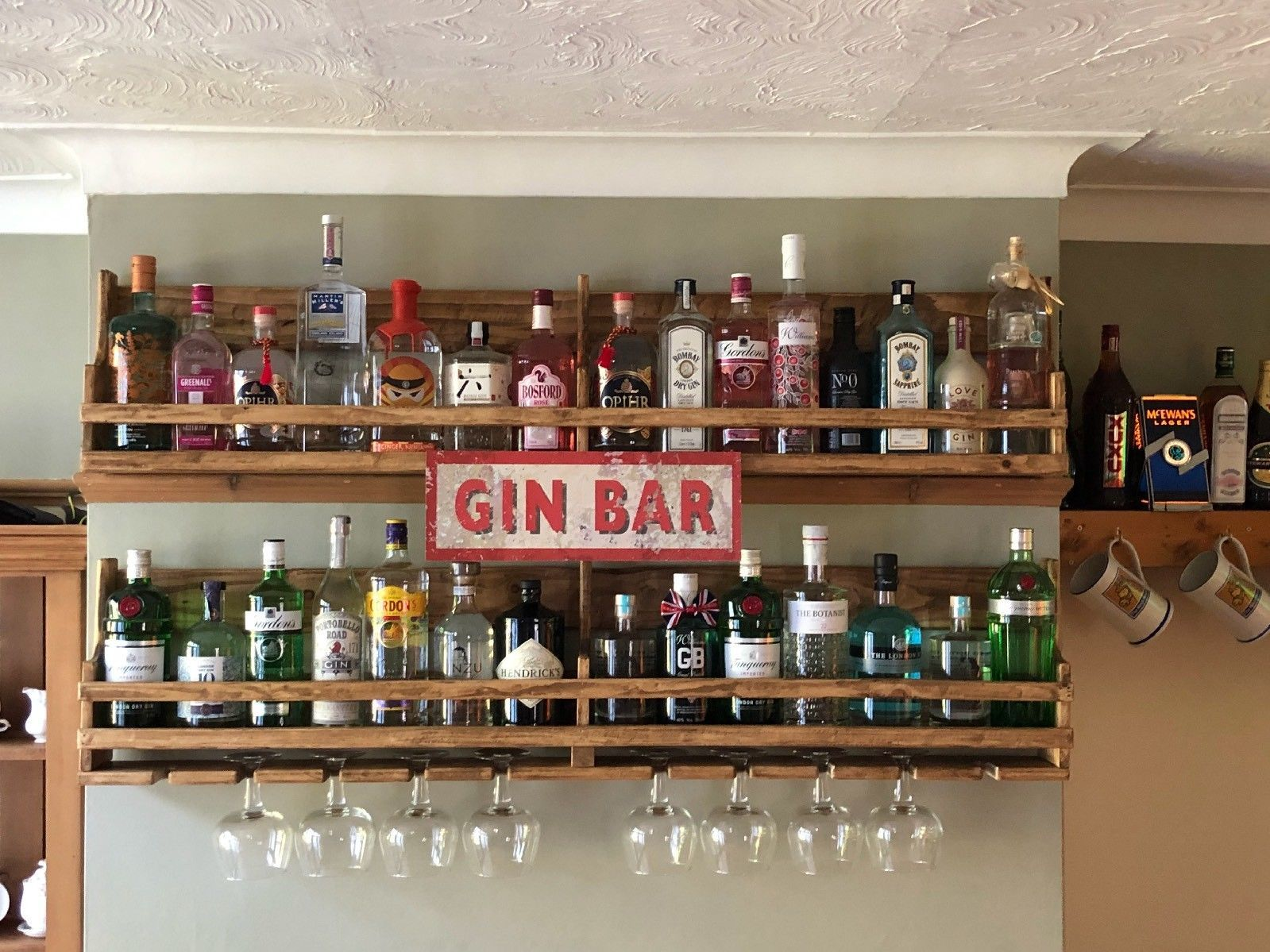Specially Made Gin Rack And Shelf Each Of Our Gin Racks Are Completely One Of A Kind Being Created From The Best Natural S Diy Home Bar Gin Bar Wooden Gifts