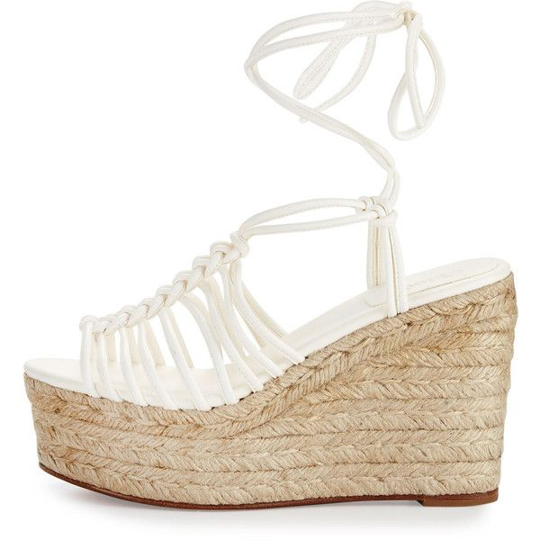 Chloe Caged Leather Espadrille Wedge Sandal (£255) ❤ liked on Polyvore featuring shoes, sandals, open toe wedge sandals, white platform sandals, wedge espadrilles, wedge sandals and white sandals