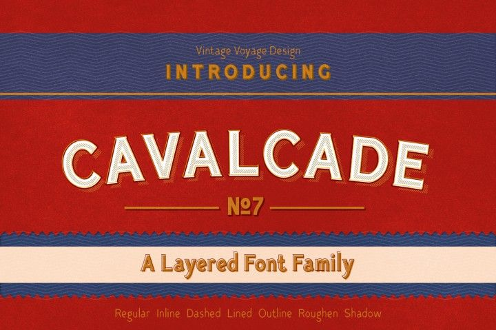 Cavalcade • Layered Font By Vintage Voyage | Fonts