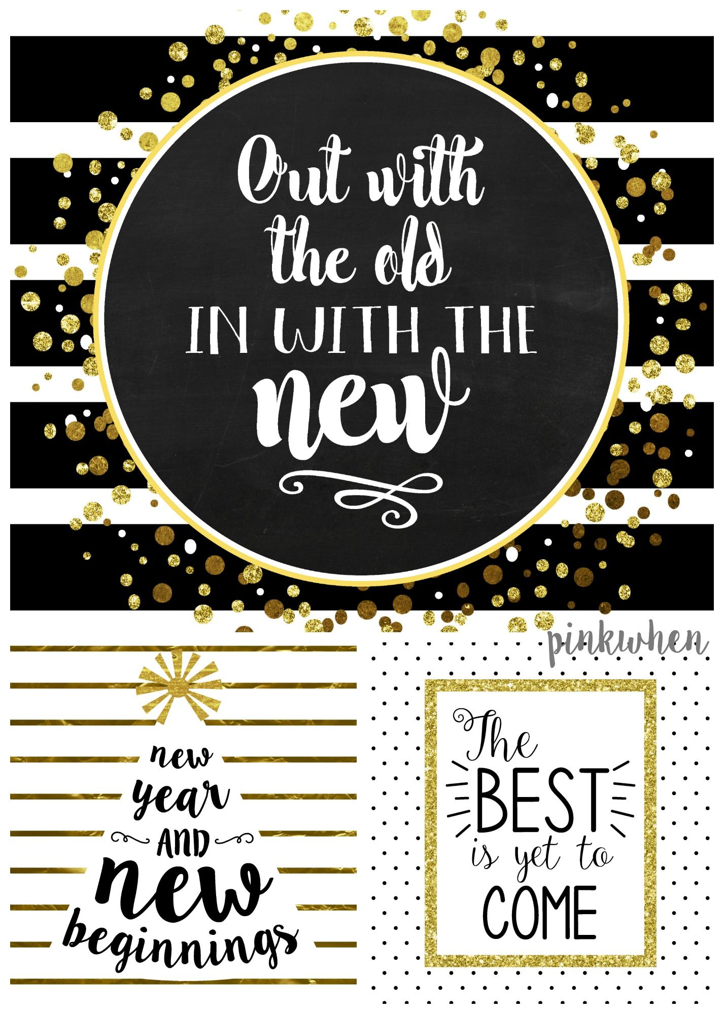 Hello 2020 New Year Eve Sign Gold and Black Poster