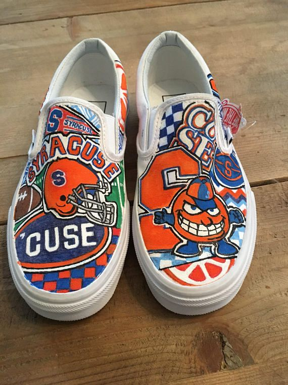 559cc34c7bc Syracuse University custom personalized hand painted canvas slip on sneakers  or shoes