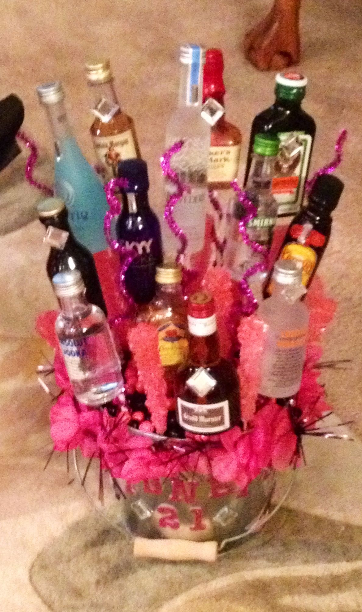 Made An Edible Alcohol Basket For My Dear Friend Her 21st Birthday