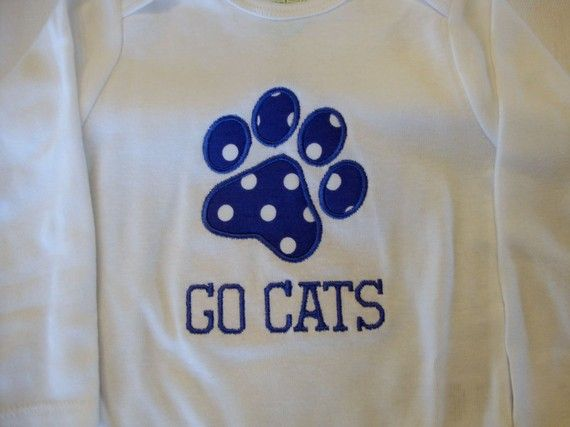 University of kentucky paw print applique shirt or onesie i
