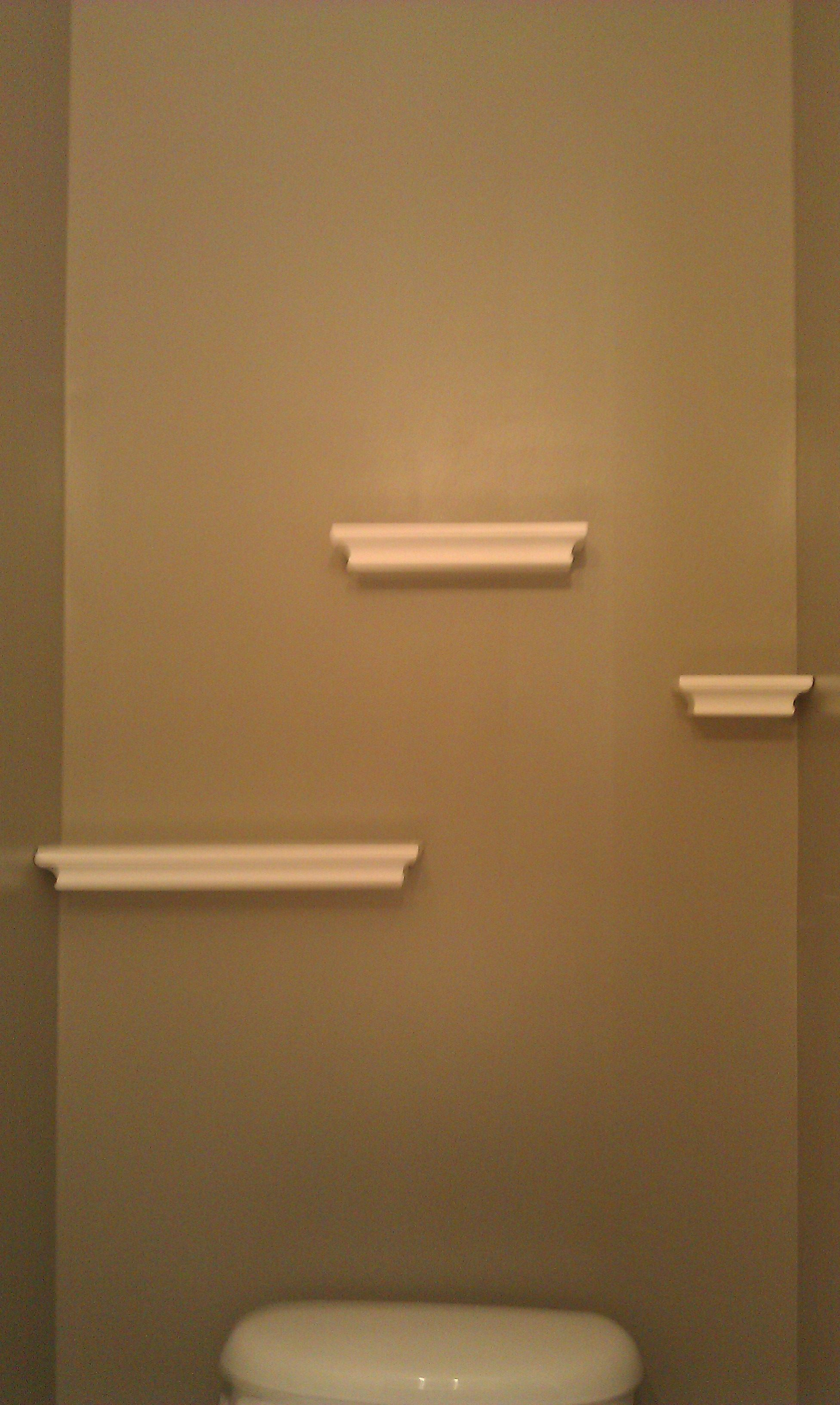 Floating Shelves In The Powder Room Hung With Command