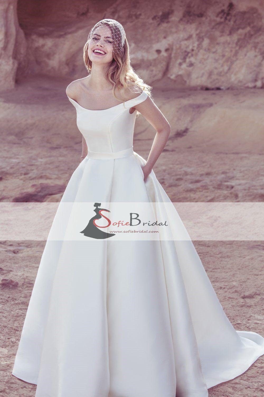 Off shoulder satin wedding dresses aline elegant wedding dresses