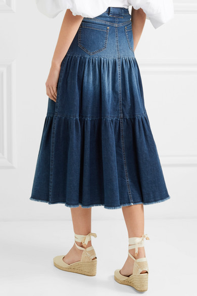 b498f41567 REDValentino | Tiered denim midi skirt | NET-A-PORTER.COM | Fashion ...