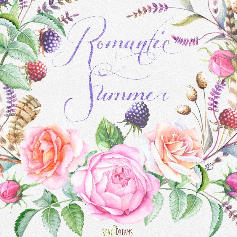 Disegno Mazzo Di Fiori.Watercolor Bouquets Hand Painted Clipart Roses Feathers