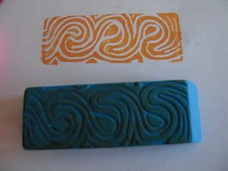 use basic printmaking techniques to make stamps from dollar store erasers