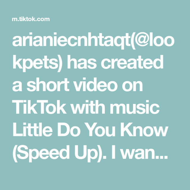 Arianiecnhtaqt Lookpets Has Created A Short Video On Tiktok With Music Little Do You Know Speed Up I Wanna S Little Do You Know Music Love Funny Cat Memes