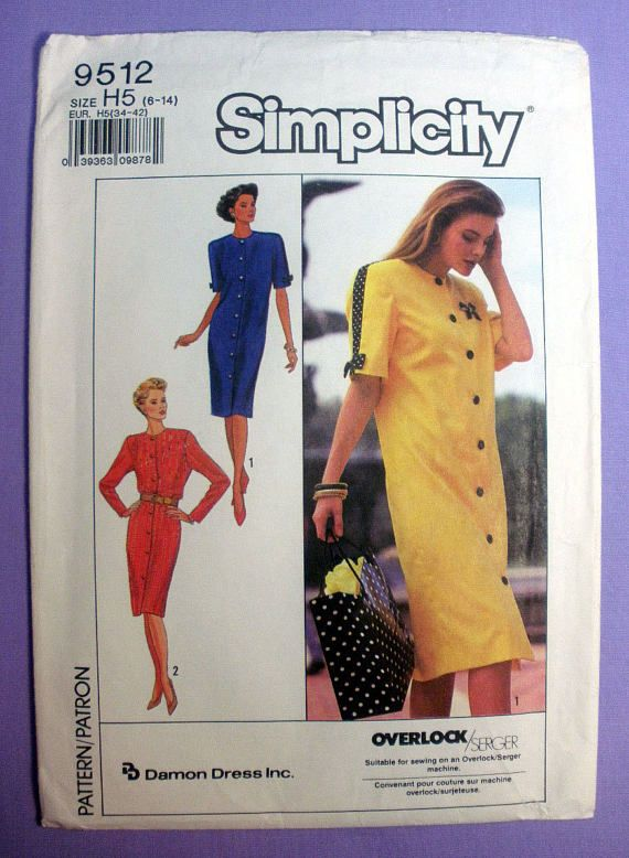 Womens Chemise Dress Sewing Pattern Jewel Neckline Long Sewing