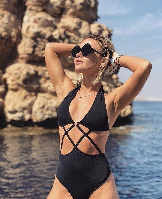a66b13bc4f55e one piece swimsuit cheeky high cut leg / open back bathing suit / brazilian bikini  bottom / triangle