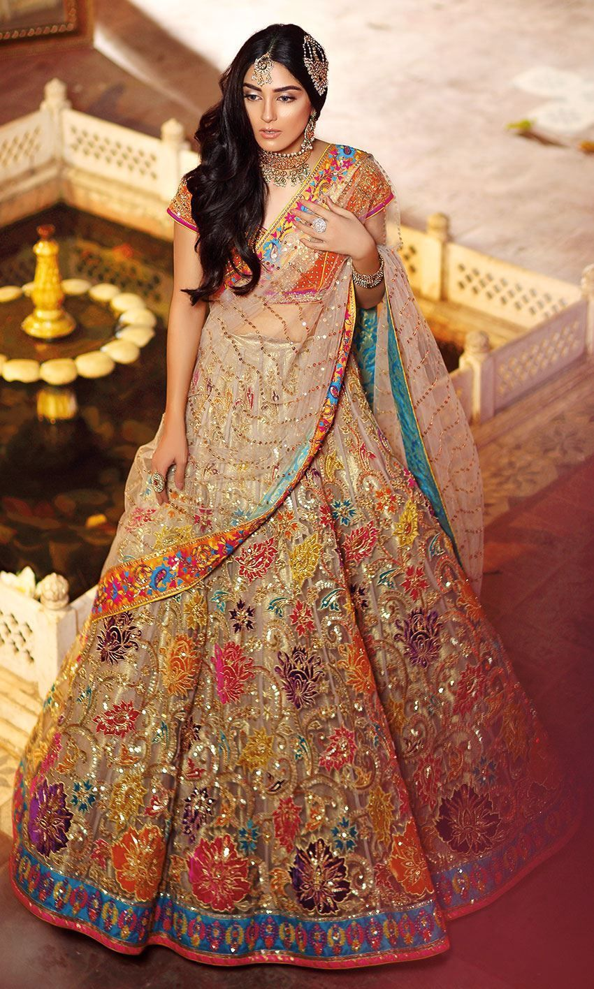 Fawn Color Wedding Lehenga With Multicolor Embroidery Bridal Dress Design Pakistani Bridal Dresses Bridal Lehenga Collection
