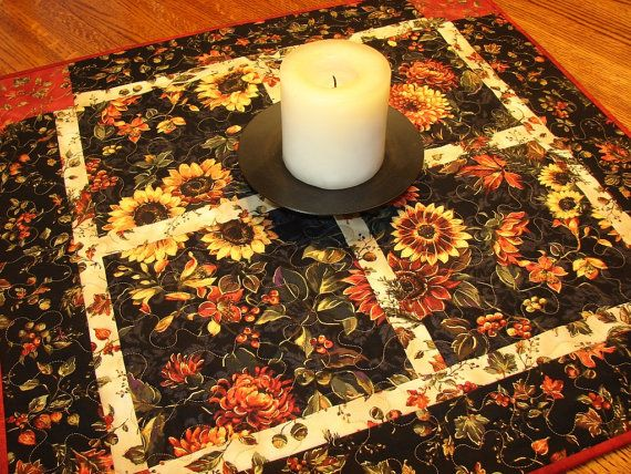 Autumn Fall Thanksgiving Quilted Square Table Topper by susiquilts, $57.00