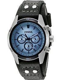 Fossil herren armbanduhr chronograph leder schwarz sport ch2564
