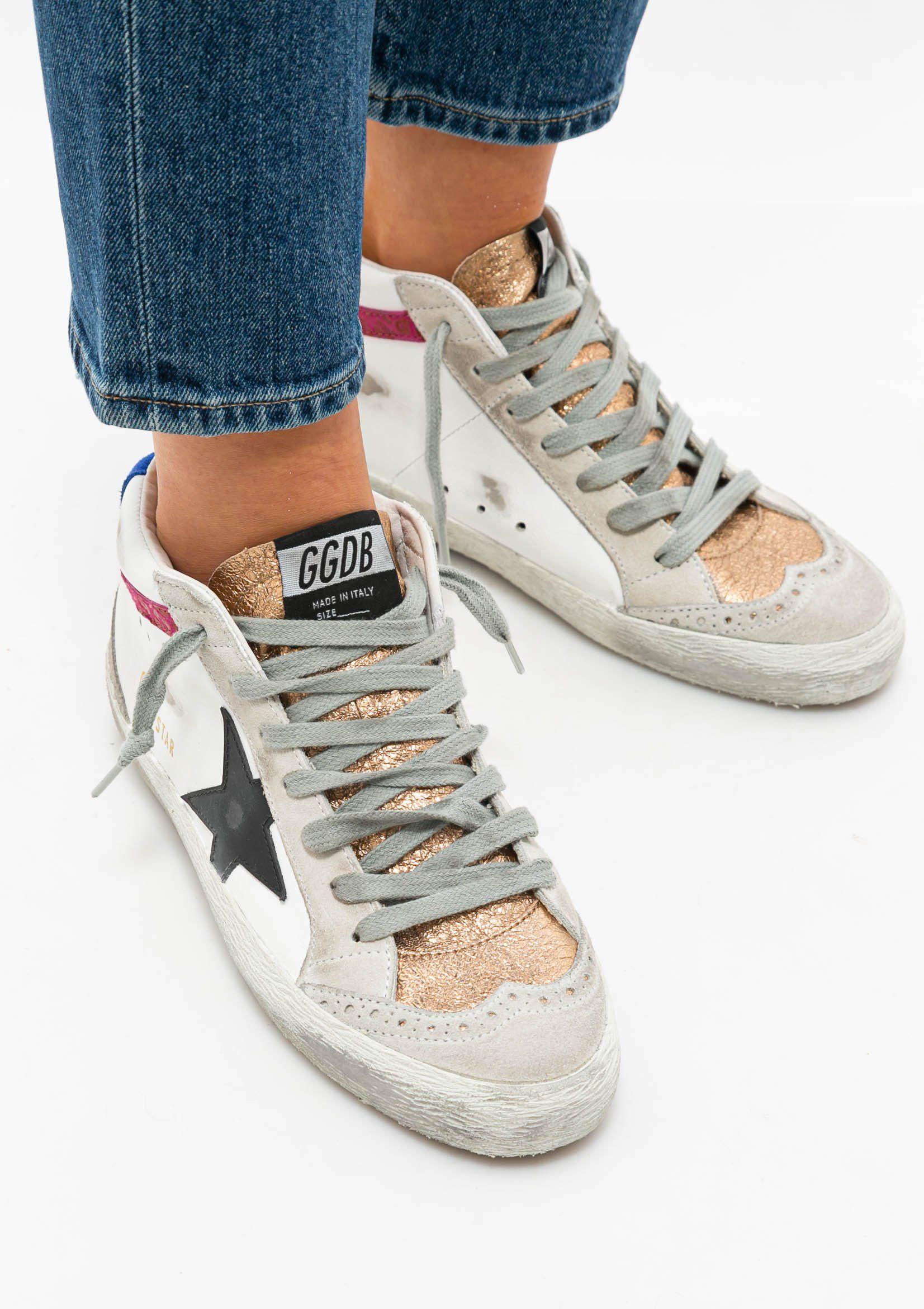 Mid Star Sneaker | Leopard Suede Wave – White/Black/Pink / 38
