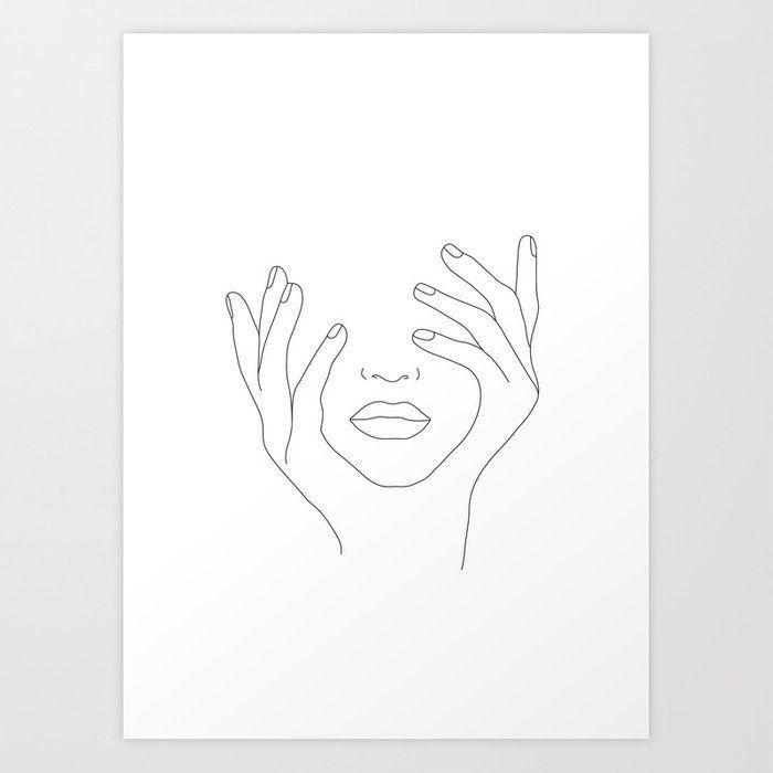 Kaufen Sie Sie Minimale Linienkunst Frau mit den Händen im Gesicht Kunstdruck von nadj …  – DIY Kleidung