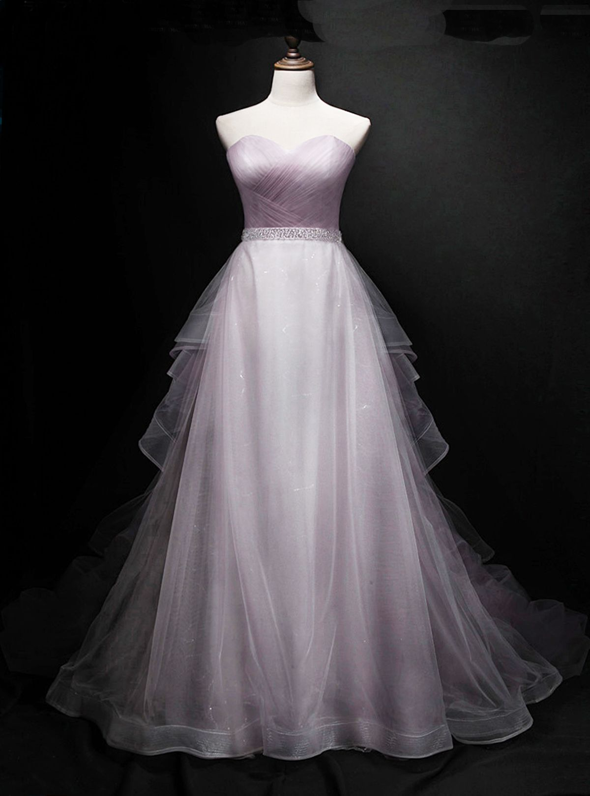 Lilac tulle strapless aline sweetheart long evening dress long