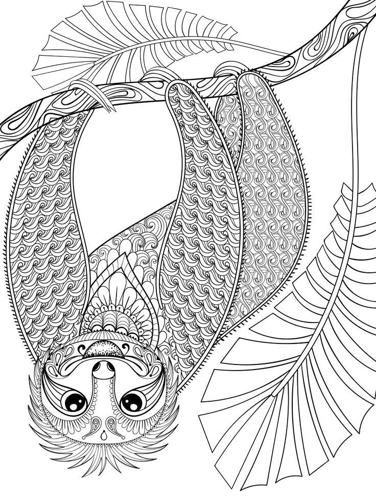 """Flower Sloth, a page from my new art therapy coloring book """"Animal ..."""
