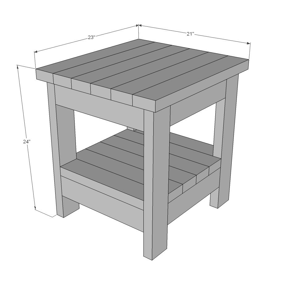 Tryde End Table With Shelf Updated Pocket Hole Plans Diy