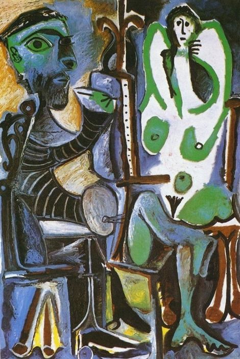 Pablo Picasso, the artist and his model, june 1963, moujins