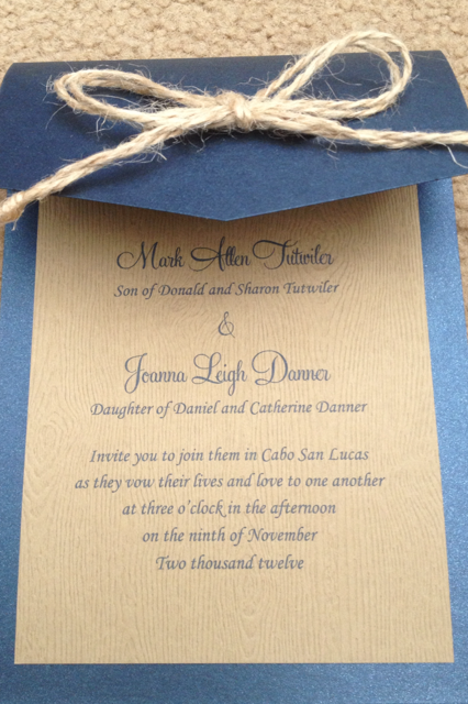 I think invitations should convey the feeling and/or theme of the wedding.  To achieve this, I added jute ribbon and printed on a wood grain paper. The blue matched the color of my bridesmaids dresses.  They turned out beautifully and I received a ton of compliments on them!
