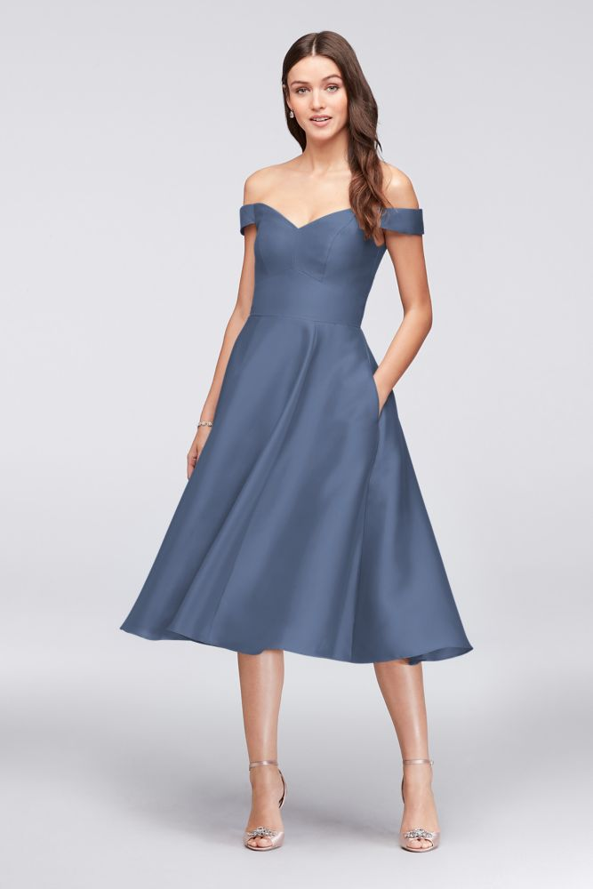 da8dbee31ae62 Off-the-Shoulder Tea-Length Bridesmaid Dress - Steel Blue