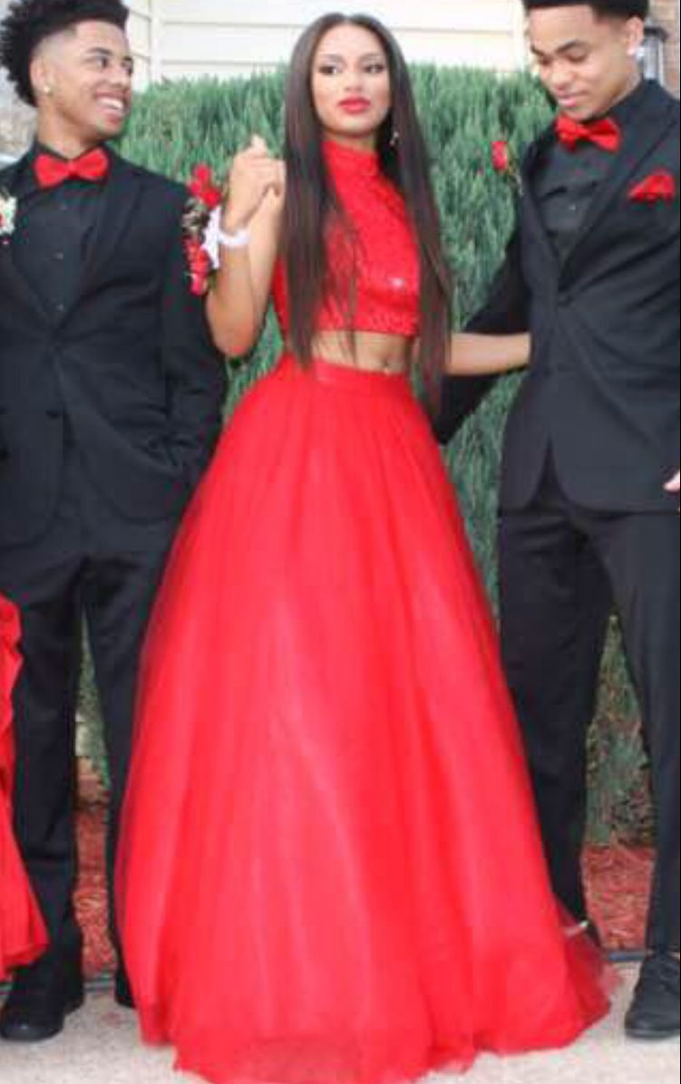 62ff02f981 High Quality High Neck 2 Pieces Red Prom Dress