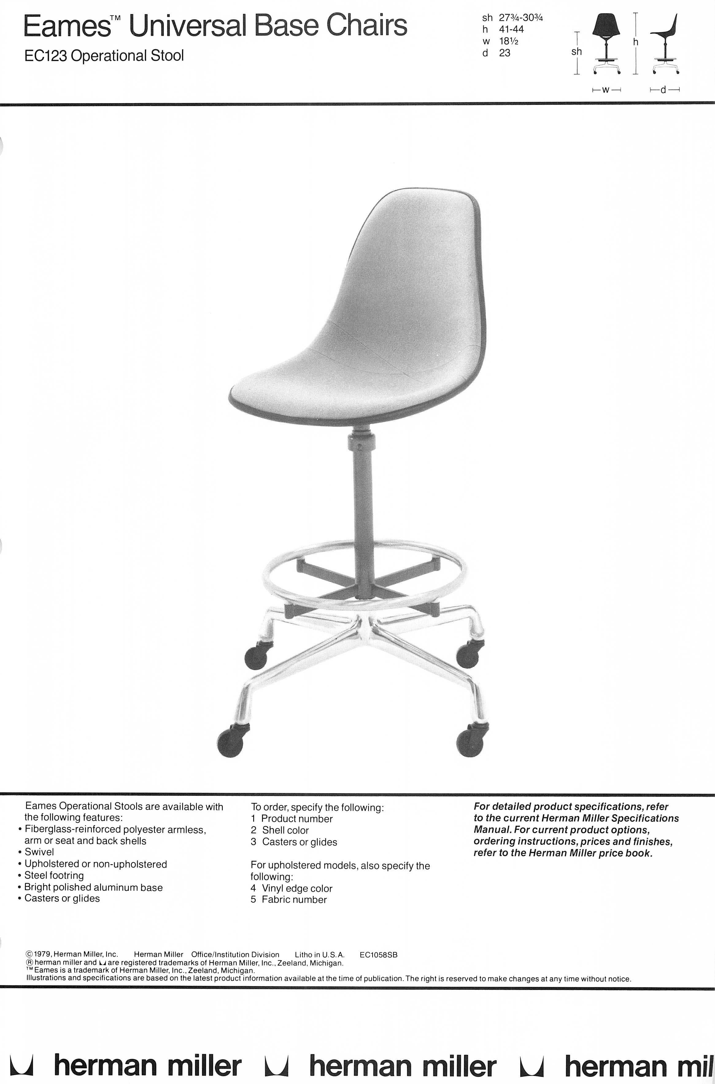 swivel chair operations cover rentals memphis eames operational stool in a 1979 hermanmiller catalog vintage