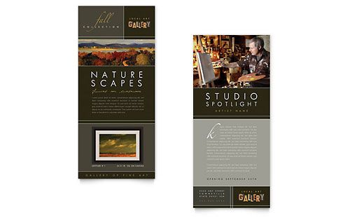 Art Gallery  Artist Rack Card Template Design  Stocklayouts