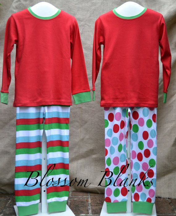 829d11143e Red green blue pink Christmas pajamas by NiftyNookEmbroidery