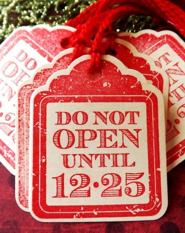 Vintage Hand Print Christmas Gift Tags, 2013 Red Christmas ...