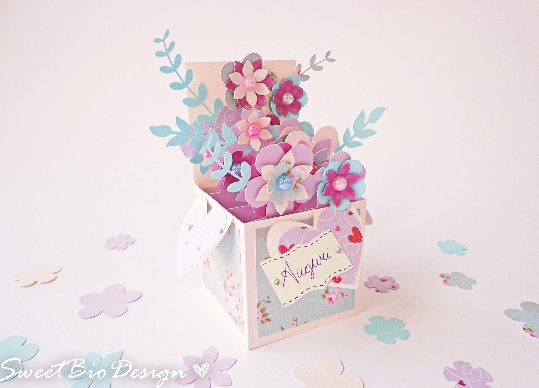Поздравление коллеги, объемная открытка с цветами на день рождения
