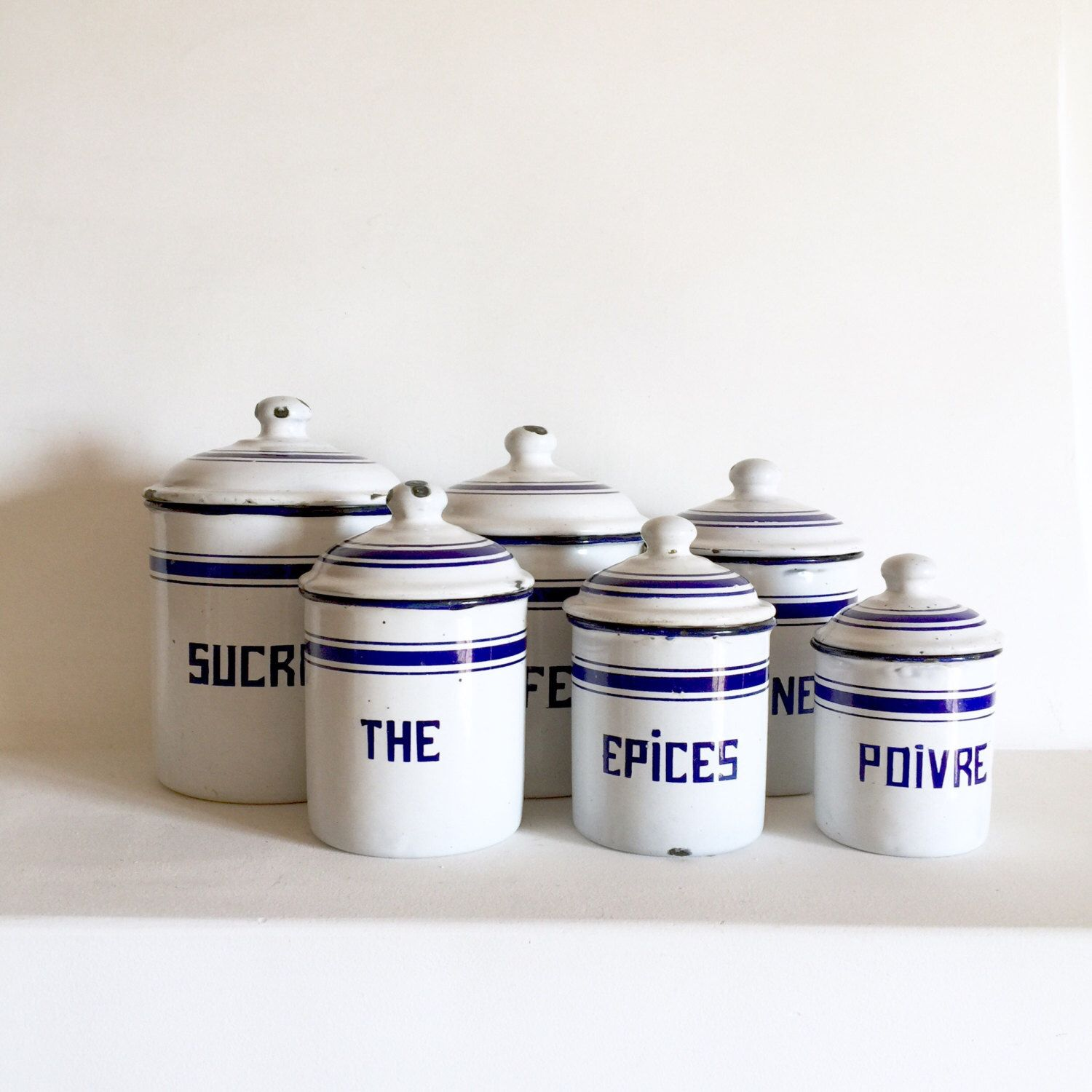 French Antique Enamel Canisters Kitchen Enamelware Vintage Canister Set Of