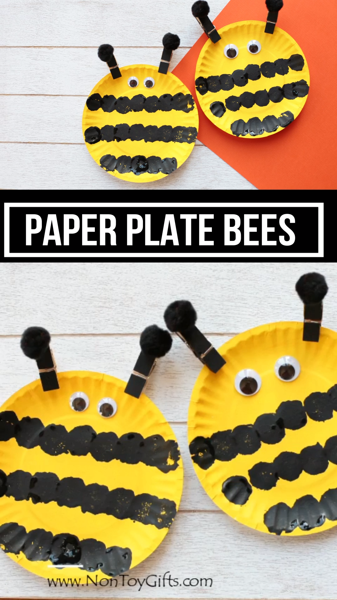These paper plate bees make a fun and easy spring or summer craft for preschoolers and older kids. #beecraft #paperplatecraft #springcraftkids