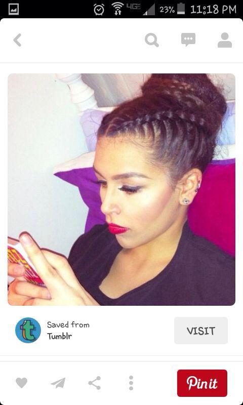 2 Cornrows Into A Bun Natural Hair Styles Hair Hair Inspiration