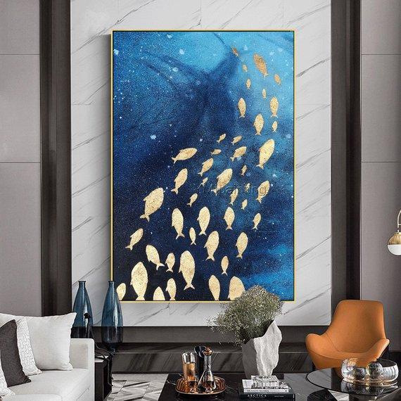 Tele Dipinte Moderne.Original Modern Abstract Gold Fish Acrylic Ocean Sea