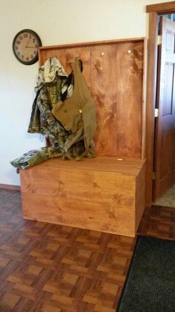 Coat rack and boot hide away chest