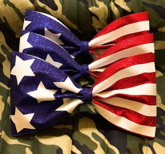 American Cheer Bow Flag Stars and Stripes Cheer Tailless Big Hair Bow 4th of July