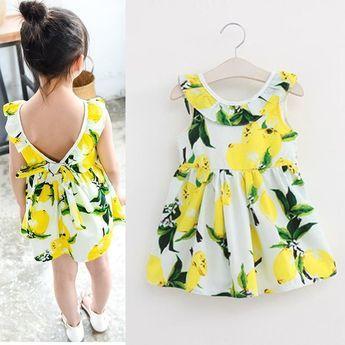 0930dcf3a Chica de moda de Verano Vestido de Limón Sin Mangas Niños Vestido ...