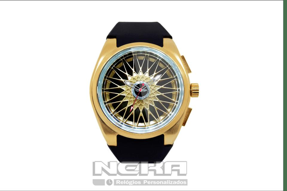 47ea9414ca2 Roda bbs dourada em relógio dourado com pulseira em borracha ...