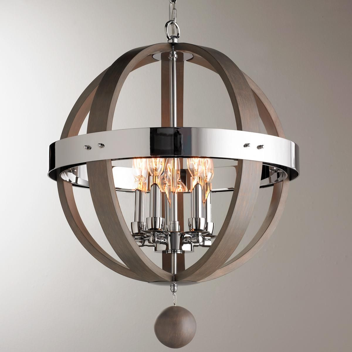 White washed wood sphere chandelier chandeliers by shades of light - Wood And Chrome Barrel Sphere Chandelier
